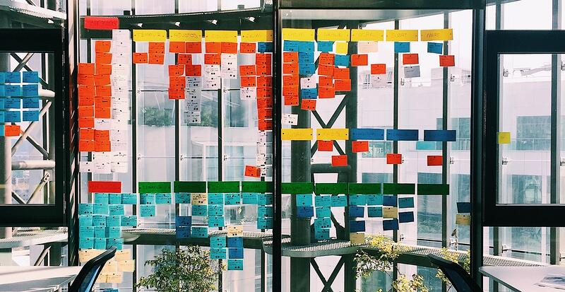 scrum wall on windows in office building