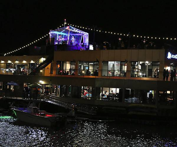 LeanDog Boat at night